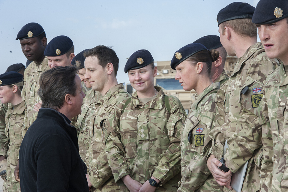 David Cameron meeting troops in Camp Bastion.