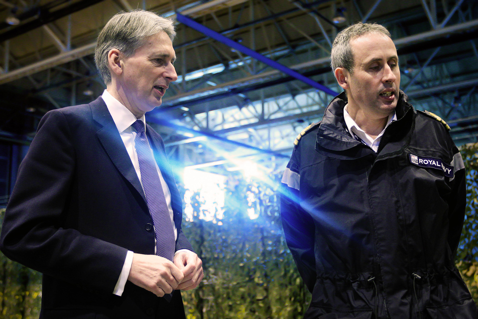 Philip Hammond speaks with Royal Navy Commander Bow Wheaton
