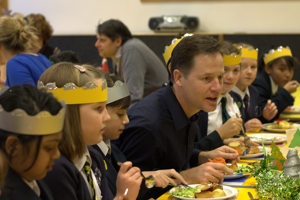 Nick Clegg at a school