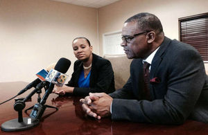 Deputy Governor Williams and Minister of Finance Misick brief the Islands' media.