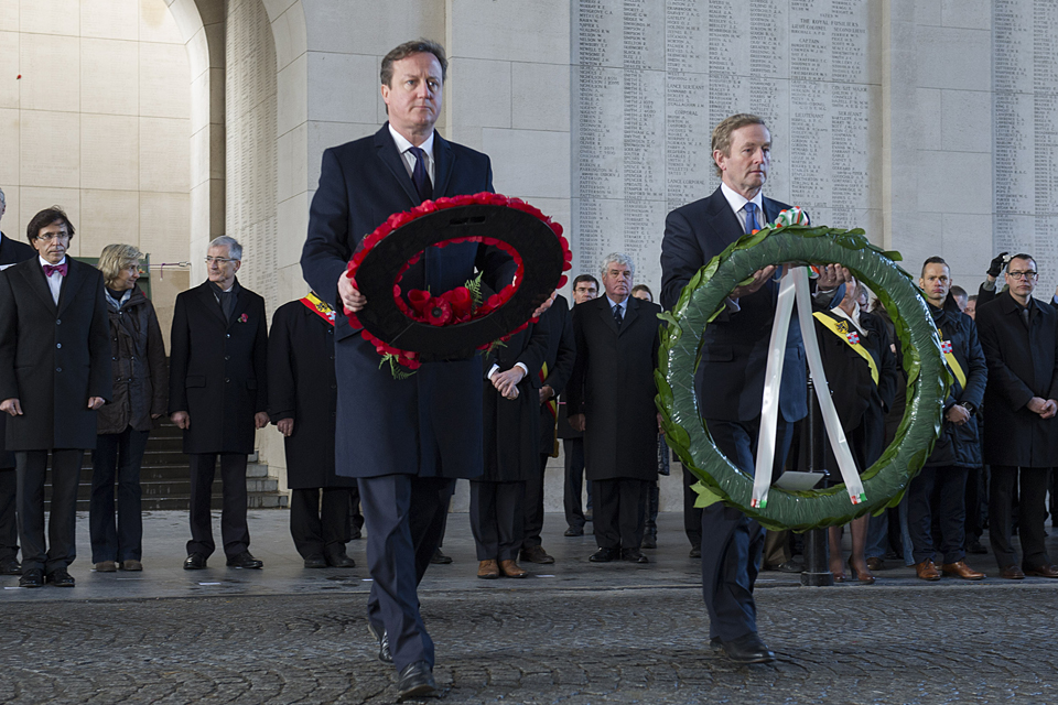 David Cameron and Enda Kenny laying wreaths