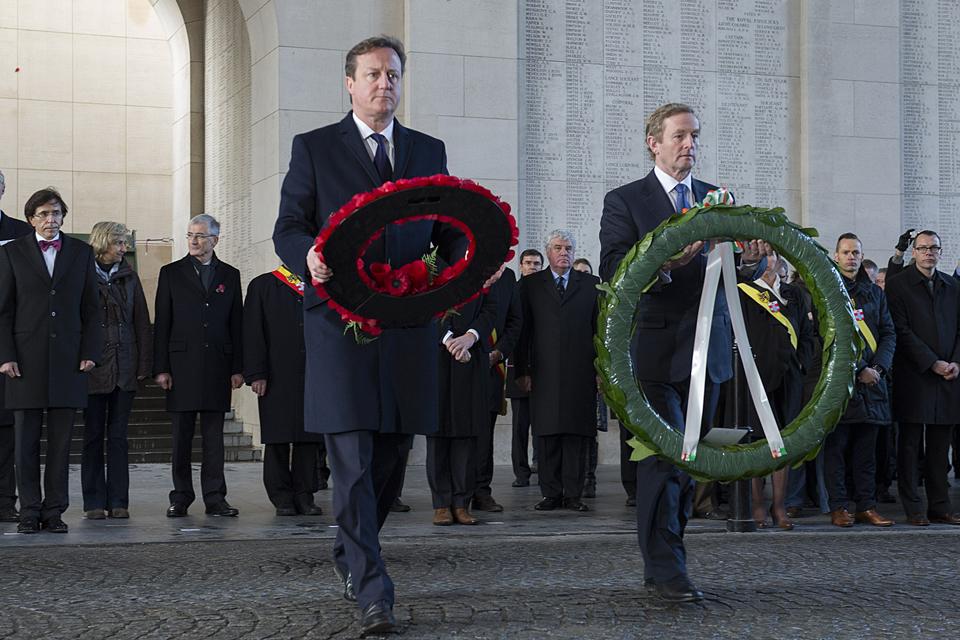 David Cameron and Enda Kenny laying wreaths