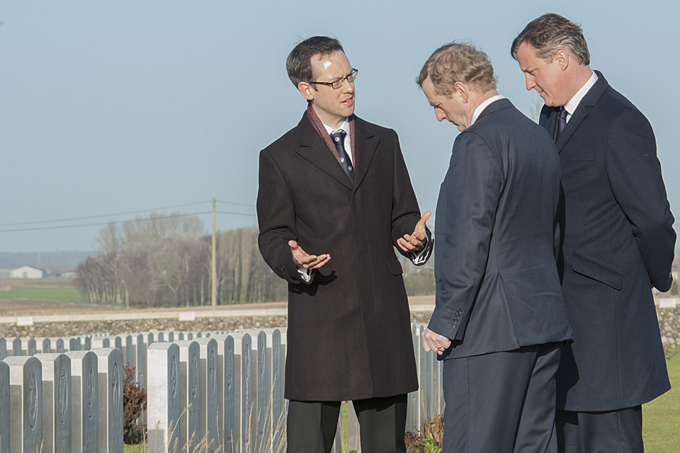 David Cameron and Enda Kenny looking at graves in Ypres