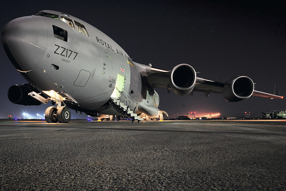 A Royal Air Force C-17 Globemaster aircraft