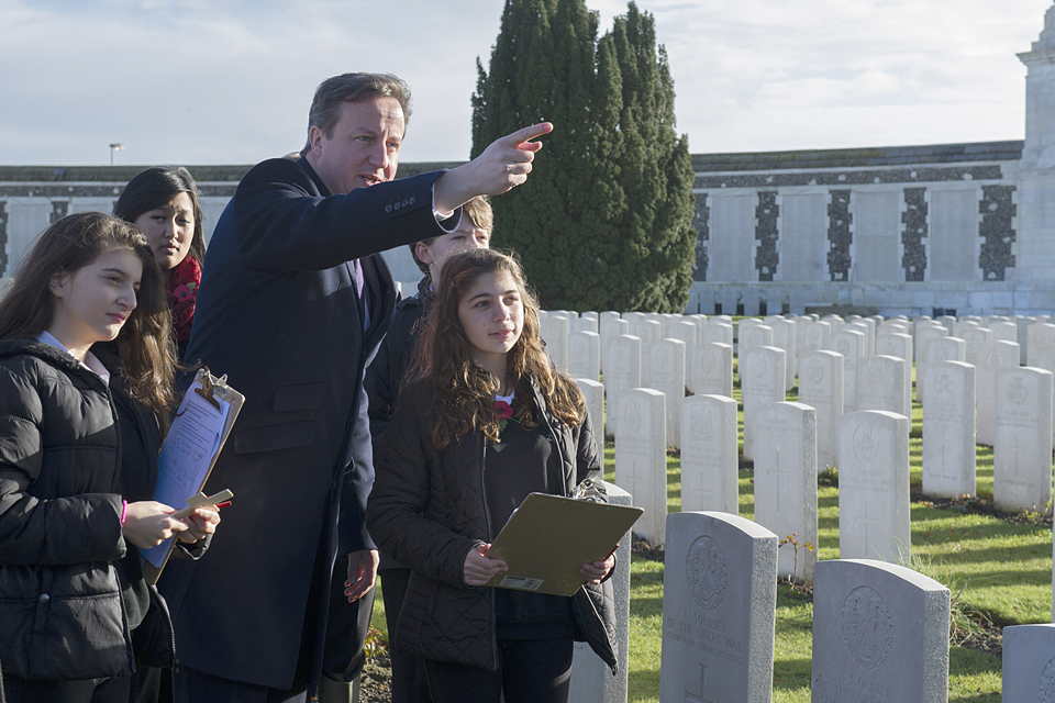 David Cameron with a group of schoolchildren in Ypres