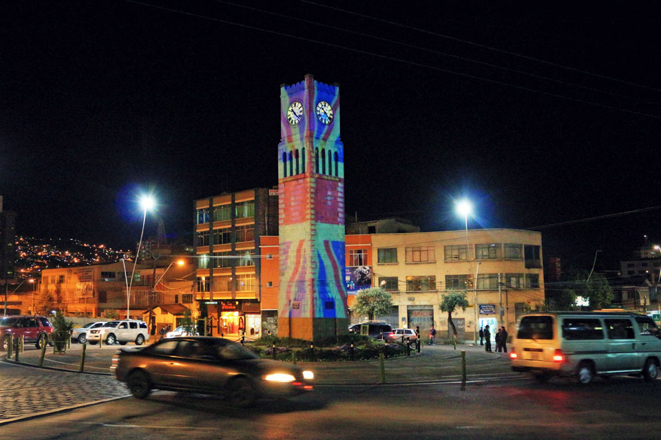 GREAT mapping over clock tower in La Paz