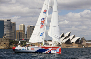 GREAT Britain Clipper Yacht in front of Sydney Opera House