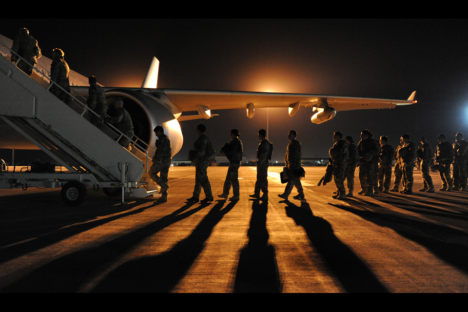 Homebound troops boarding the Voyager aircraft at Camp Bastion
