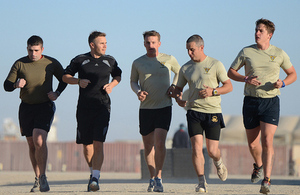 Gary goes for an early morning run with some of the servicemen stationed at Camp Bastion