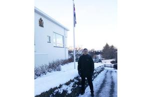 HM Ambassador Stuart Gill outside the British Embassy Reykjavík