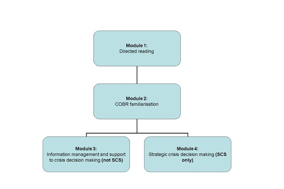 Diagram showing progression from module 1 to module 2, and then to either module 4 if the trainee is a senior civil servant, or module 3 if they are not.