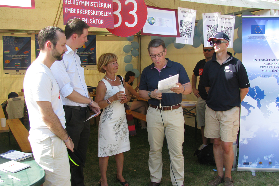 Ambassador Knott (first from the right) visited the Anti-Trafficking tent at the Sziget Festival