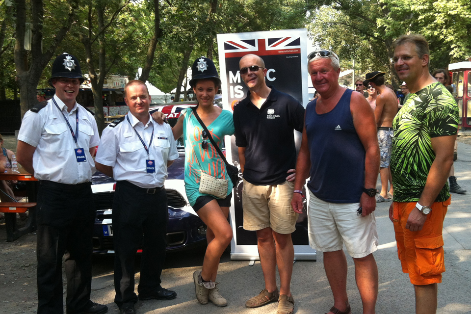 Bobbies at Sziget Festival with Ambassador Knott (in the middle)