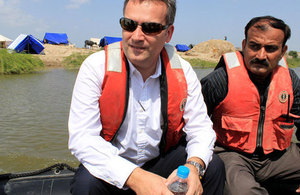 George Turkington visiting flood affected areas in Badin, Sindh.