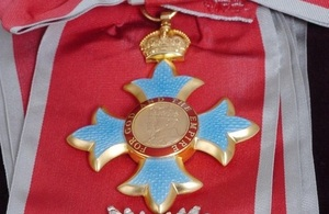Close up of an honours medal.
