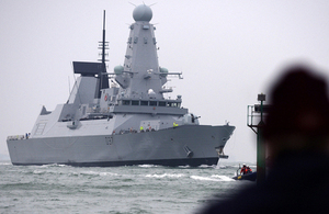 Type 45 destroyer HMS Duncan sails into Portsmouth for the first time