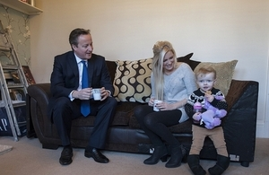 David Cameron meets Sharon Ray who has finally been able to purchase her own home with the Help to Buy scheme.