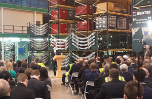 Chancellor delivering speech to Sertec