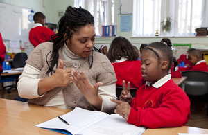 Child working with support worker