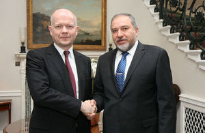Foreign Secretary William Hague and Israeli Minister of Foreign Affairs Avigdor Lieberman