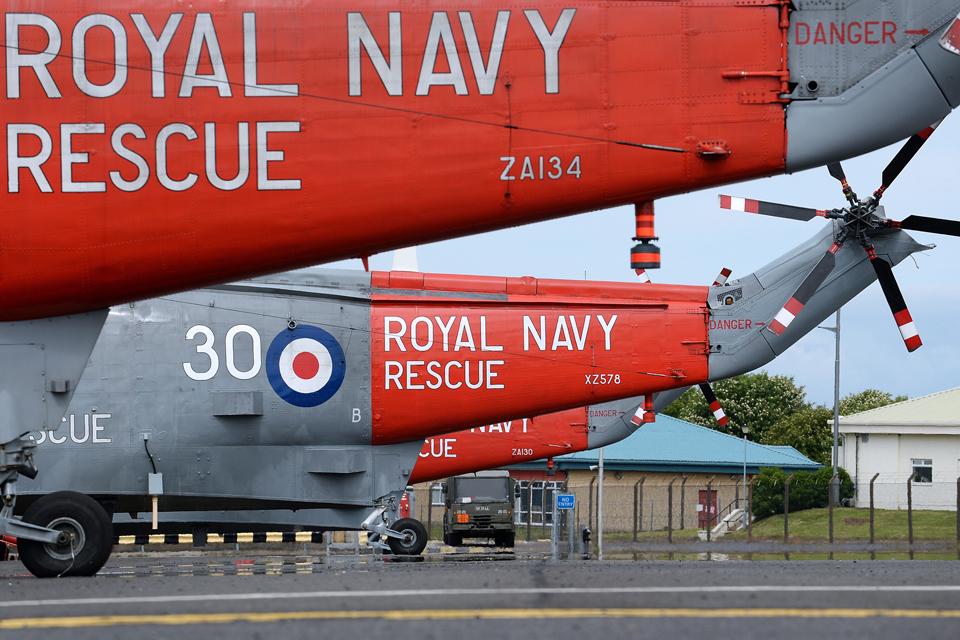 Royal Navy search and rescue Sea King helicopters