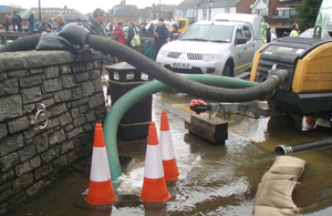 Pumps being used to protect Lymington from high tides.