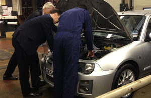 Chancellor George Osborne at a garage