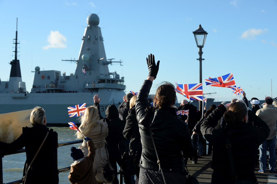 HMS Defender returns to a warm welcome in Portsmouth