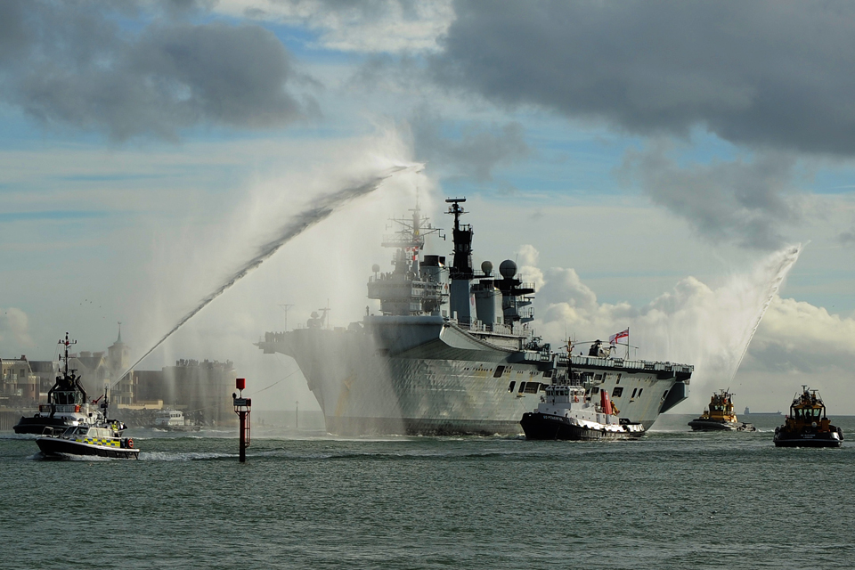 HMS Illustrious entering Portsmouth Harbour
