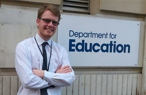 Civil Service Apprentice Conor O'Connor outside the Department for Education