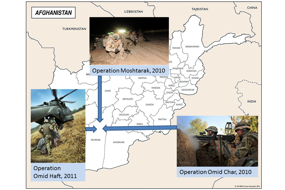 Joint operations map showing locations of Operation Moshtarak (2010 in Helmand), Operation Omid Haft (2011 in Helmand) and Operation Omid Char (2010 in Paktika).