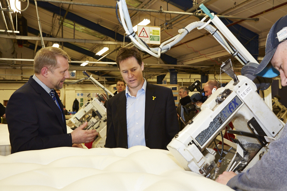 Nick Clegg at bed manufacturing company Harrison Spinks