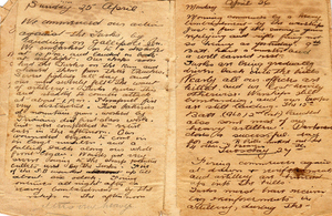 Diary of Gallipoli: entry for 25th April 1915.