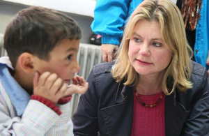Justine Greening meeting Syrian refugee children in Lebanon, ahead of the Kuwait conference. Picture: UNICEF