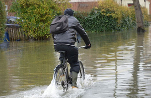 Cyclist in the floods