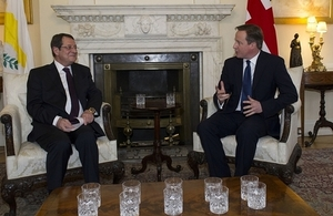 Prime Minister David Cameron with President Anastasiades of Cyprus at 10 Downing Street, London.