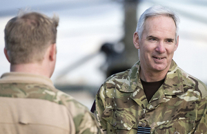 Air Chief Marshal Sir Andrew Pulford at Camp Bastion in Afghanistan [Picture: Corporal Ross Fernie RLC, Crown copyright]