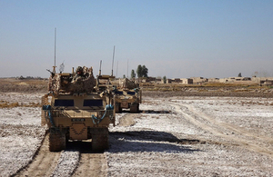 Warthog armoured vehicles of the 9th/12th Royal Lancers supporting an Afghan police operation to clear an area of insurgents [Picture: Crown copyright]