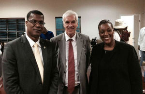 Premier Ewing, Governor Beckingham and Deputy Premier Akierra Missick.