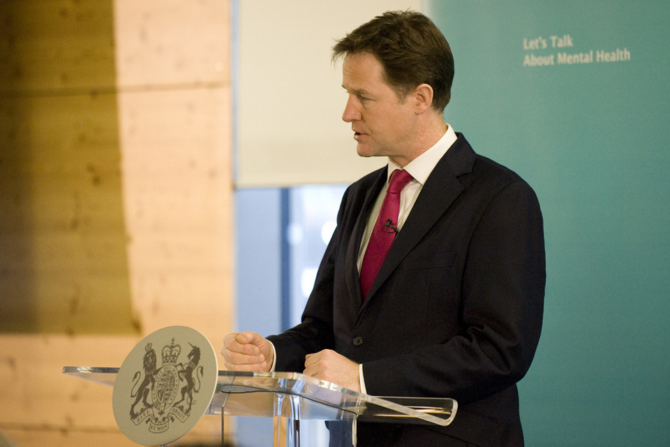 Deputy Prime Minister Nick Clegg delivers his speech on mental health