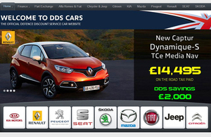 Screenshot of the Defence Discount Service Car website