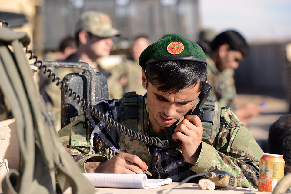 Afghan soldiers control the operation via radio