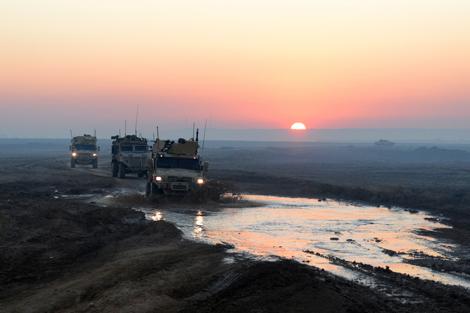 Afghan and British military convoy