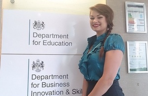 Rya Cooper, an apprentice in the civil service working at the Department for Education.