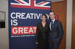 British Consul General Danny Lopez with British artist Tracey Emin, who has three pieces of art in the British Council Art Collection at the British Consulate in New York.