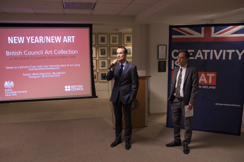 British Consul General Danny Lopez and British Council Director New York Emmanuel Kattan speaking to guests.