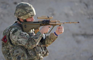 A weapon being fired during the multinational range day at Kandahar Airfield [Picture: Sergeant Si Pugsley RAF, Crown copyright]