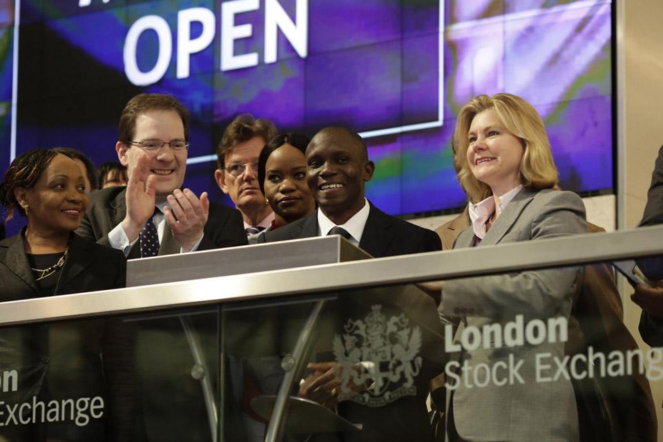 Justine Greening opening the market at London Stock Exchange. Picture: London Stock Exchange.