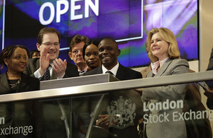 Justine Greening opening the market at London Stock Exchange. Picture: London Stock Exchange.