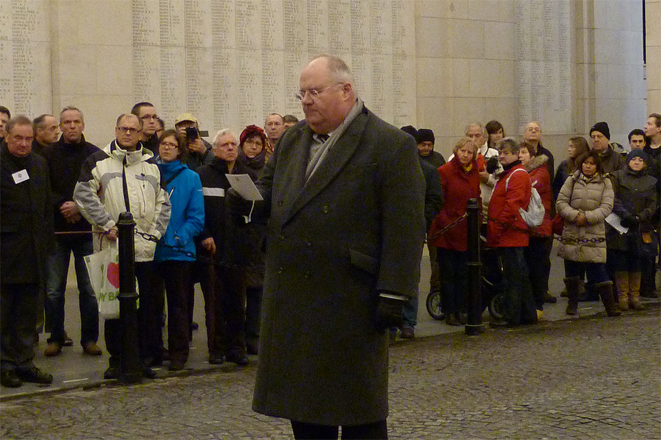 "Eric Pickles reading the words of the Exhortation, taken from Laurence Binyon's poem ""For the Fallen""."